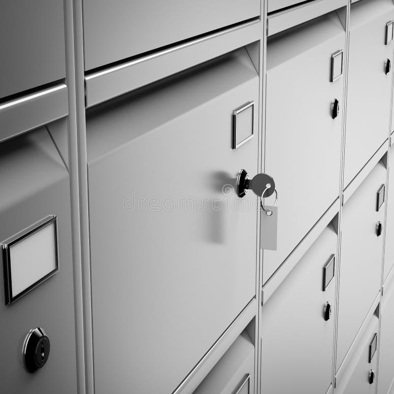 Banco seguro y llave del depósito fotografía de archivo