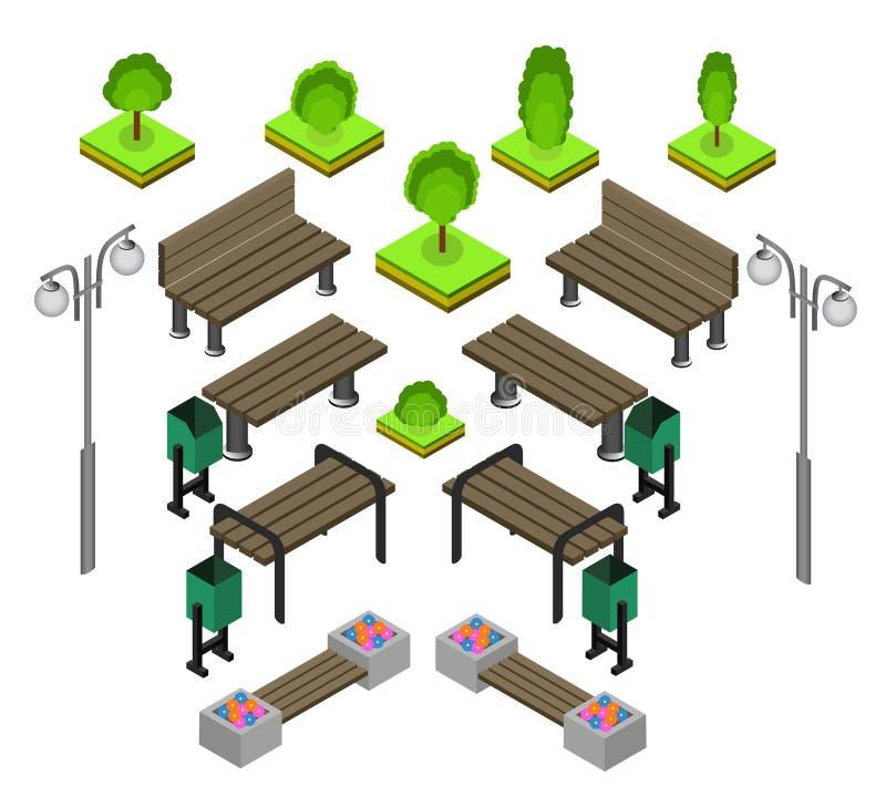 banco Sistema al aire libre del icono de los bancos de parque libre illustration
