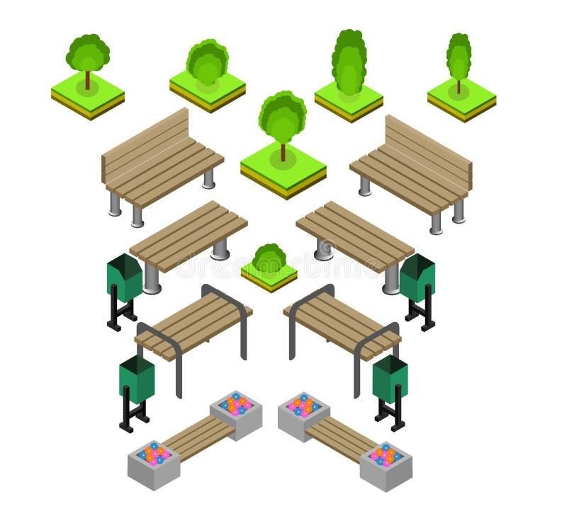 banco Sistema al aire libre del icono de los bancos de parque stock de ilustración