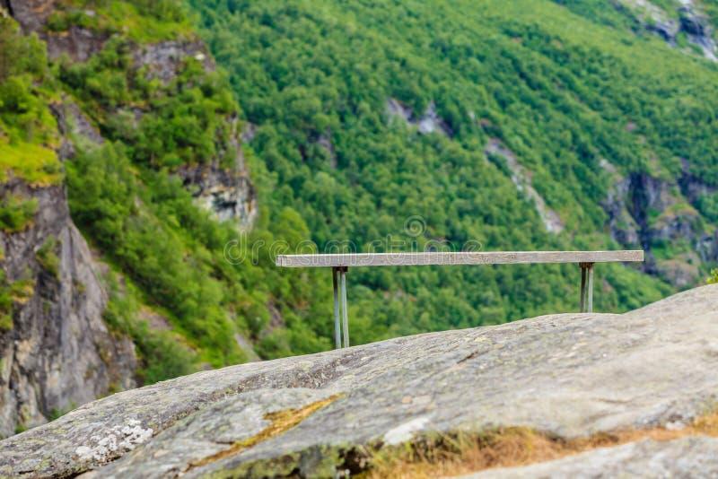 Banco solo in montagne, Norvegia fotografia stock libera da diritti