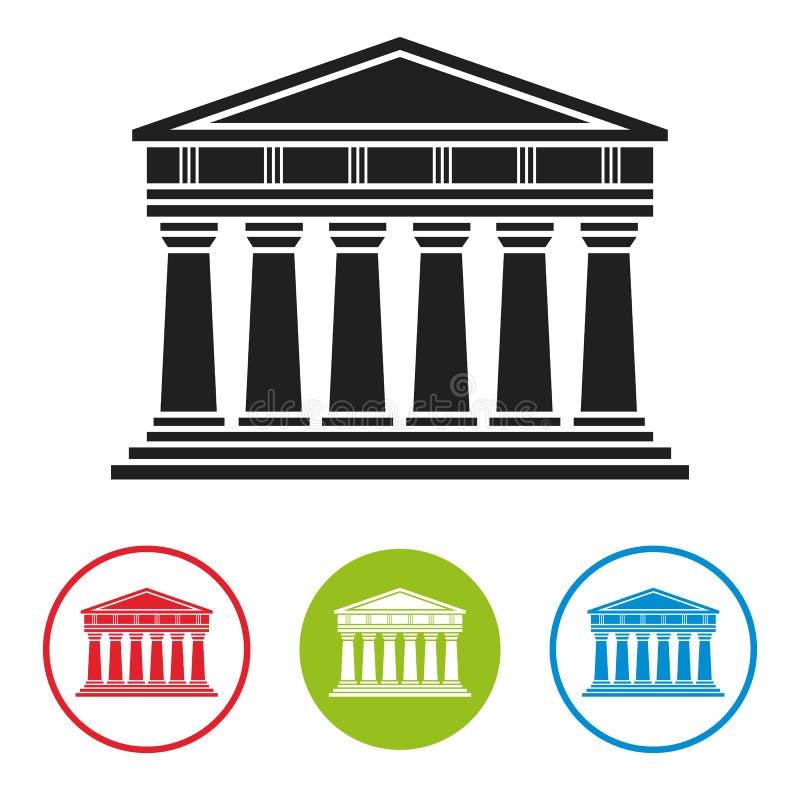 Banco, tribunal, ícone da arquitetura do Partenon ilustração royalty free