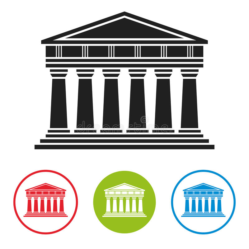 Banco, tribunal, icono de la arquitectura del parthenon libre illustration