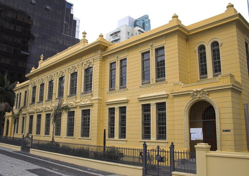 Banco in una costruzione storica, viale di Paulista immagine stock libera da diritti