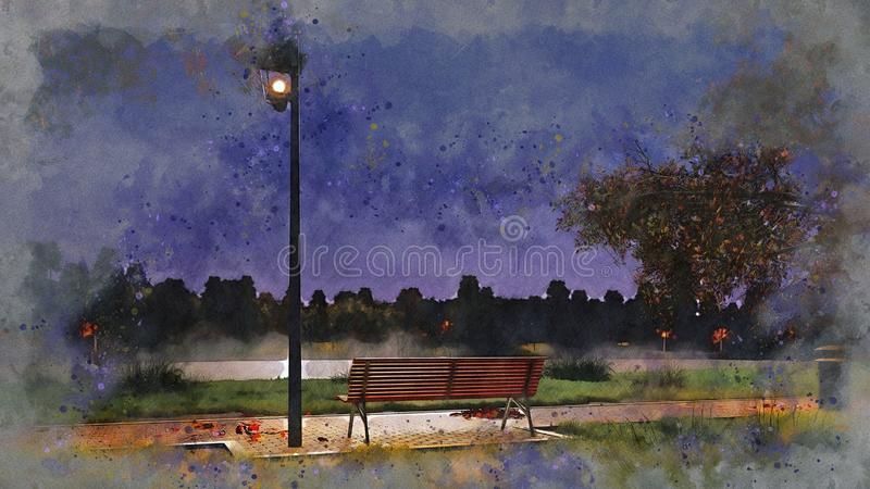 Banco vacío en bosquejo de la acuarela del parque del otoño de la noche stock de ilustración