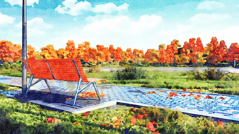 Banco vacío en paisaje de la acuarela del parque del otoño libre illustration