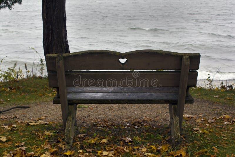 Banco vuoto che affronta un lago di sguardo freddo fotografia stock libera da diritti