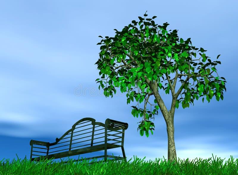 Banco y árbol ilustración del vector