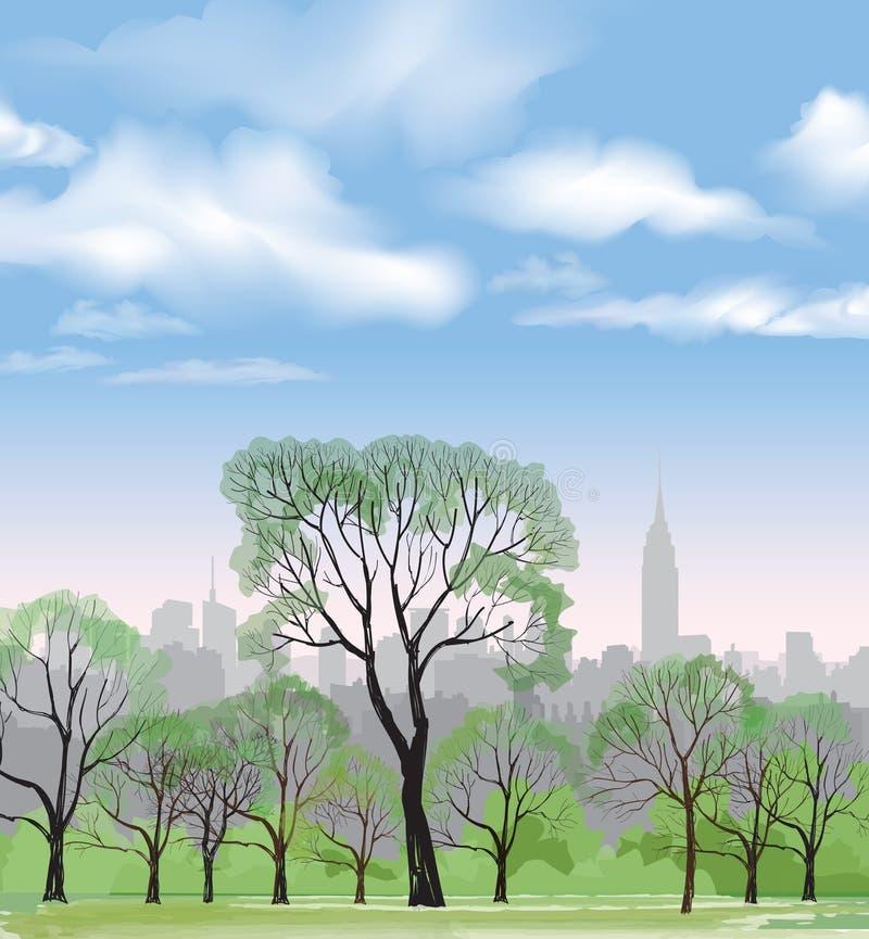 Banco y farola en parque sobre fondo de la ciudad Paisaje stock de ilustración