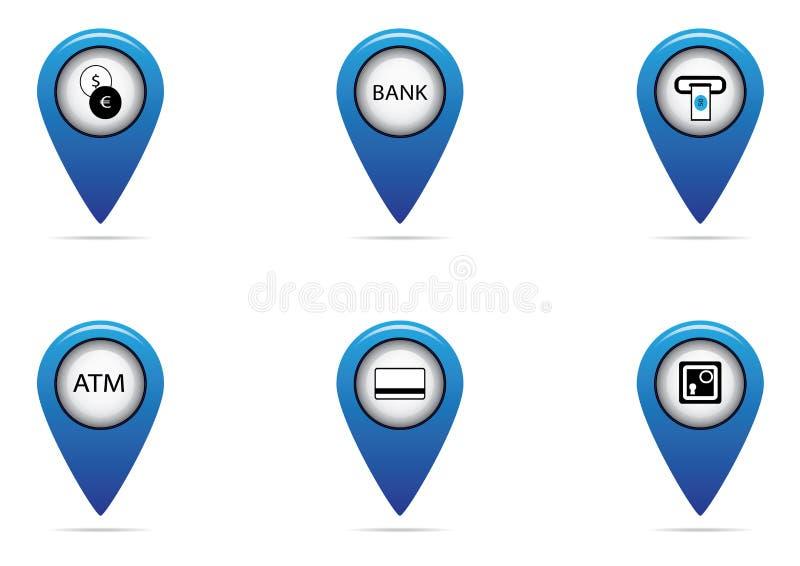 Banco y sistema de la etiqueta de las finanzas para el mapa foto de archivo