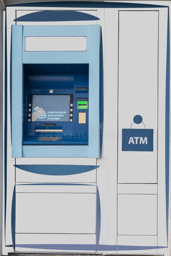 Ð¡lose-up view of street ATM machine. Bancomat - Ð¡lose-up view of street ATM machine. Banking deposit withdrawal royalty free stock photos