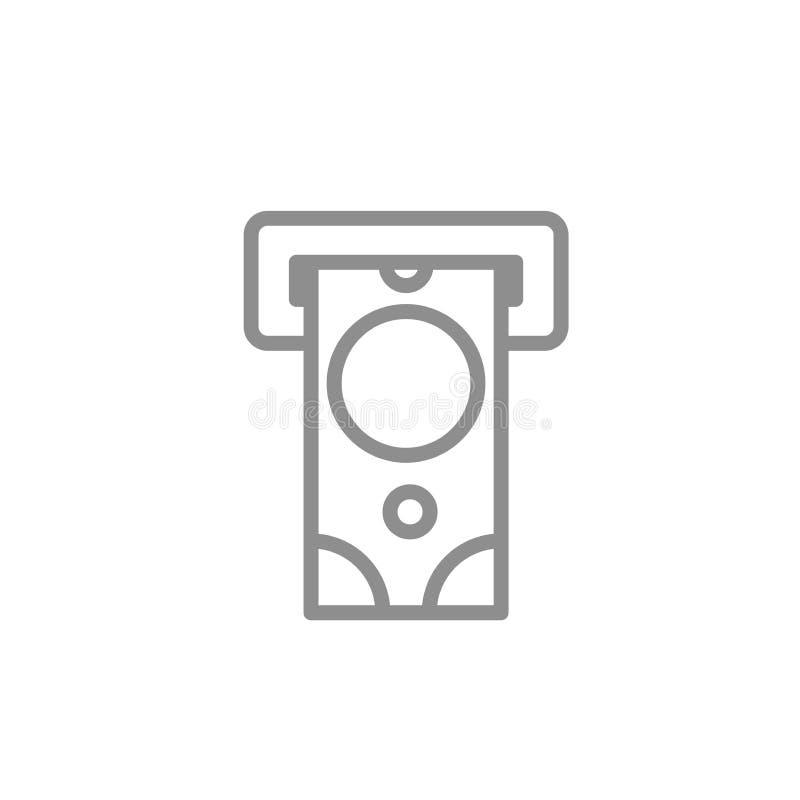 Bancomat con la linea icona dei contanti Illustrazione d'avanguardia di vettore di finanza e contare illustrazione vettoriale