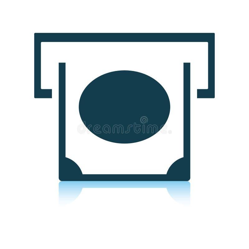 Banconota che fa scorrere dall'icona della scanalatura di bancomat illustrazione vettoriale