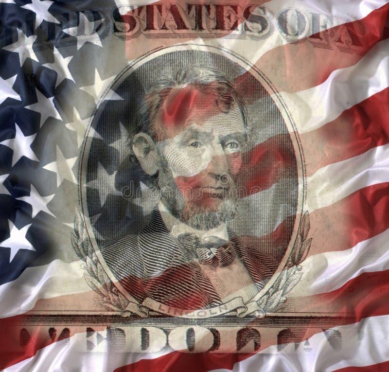 Banconota da cinque dollari con la bandiera americana immagini stock libere da diritti