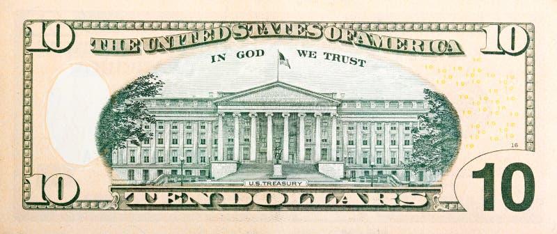 Banconota da dieci dollari senza una leggera modifica per motivi di sicurezza immagine stock libera da diritti