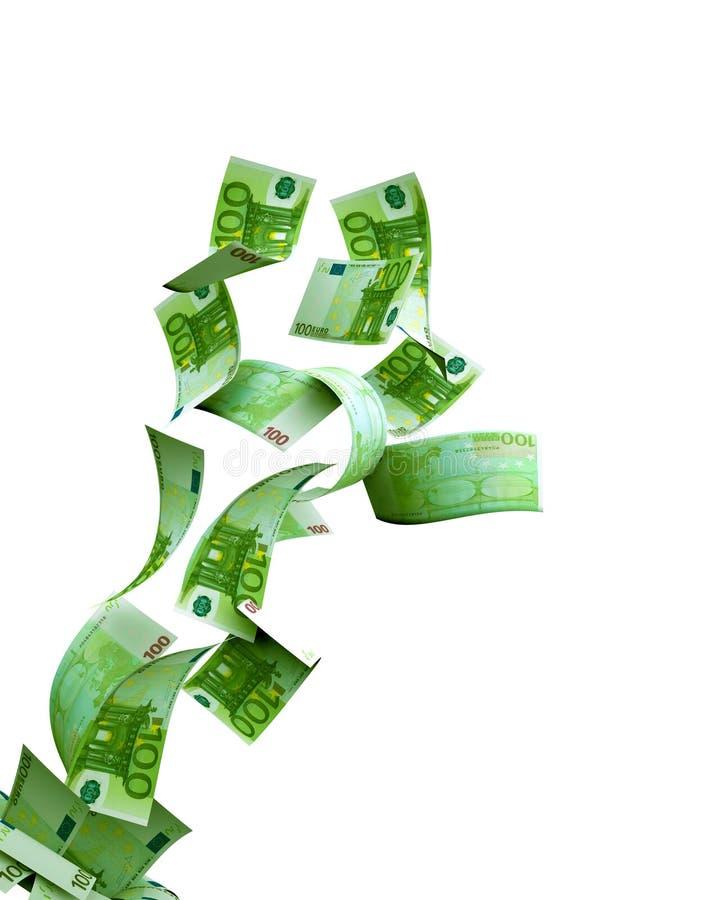 Banconota dell'euro di volo 100 su fondo bianco illustrazione di stock