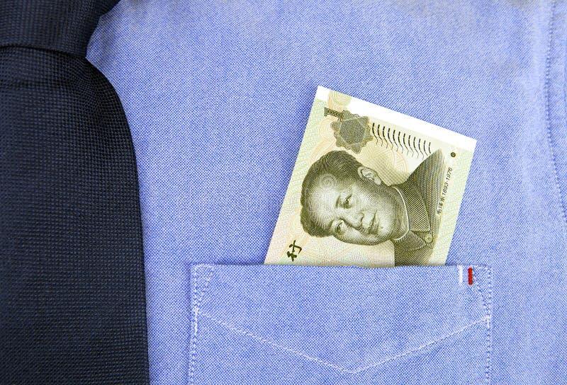 Banconota di RMB in tasca della camicia fotografia stock libera da diritti