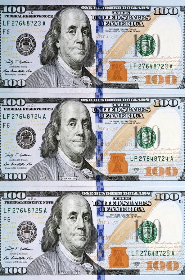 Banconota in dollari di nuovo cento fotografia stock