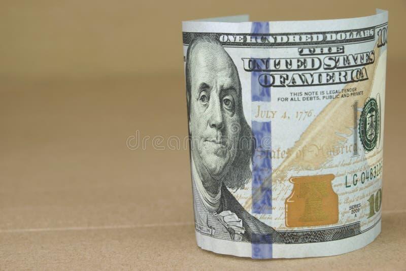 Banconota in dollari di valuta cento degli Stati Uniti d'America fotografie stock libere da diritti