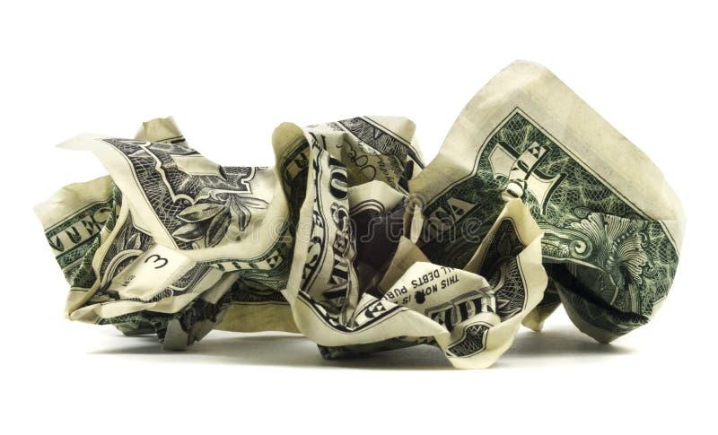 Banconota in dollari sgualcita isolata immagini stock