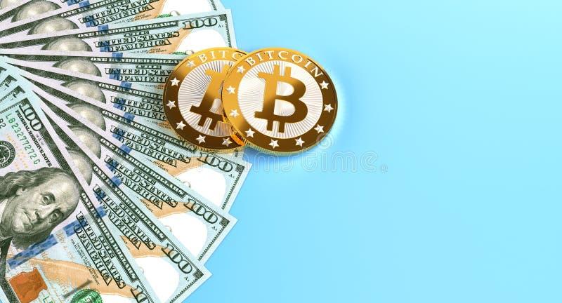 100 banconote del dollaro e Bitcoins dorato fotografia stock libera da diritti