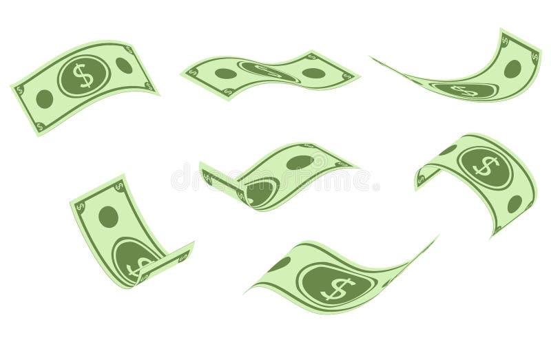 Banconote di caduta del dollaro, pioggia dei soldi, illustrazione piana di vettore isolata su fondo bianco illustrazione vettoriale
