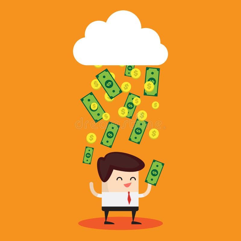Banconote in dollari che piovono da una nuvola immagine stock libera da diritti