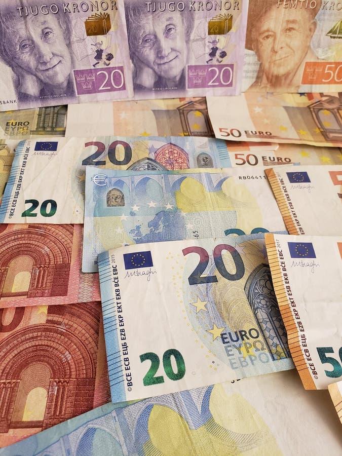 banconote e fatture svedesi dell'euro fotografie stock