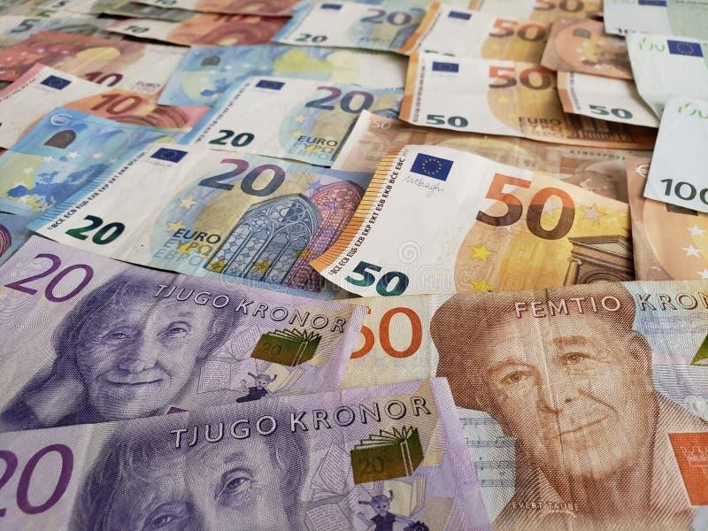 banconote e fatture svedesi dell'euro immagini stock libere da diritti
