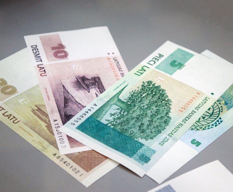 Banconote lettoni di valuta, lats in denaro fotografia stock libera da diritti