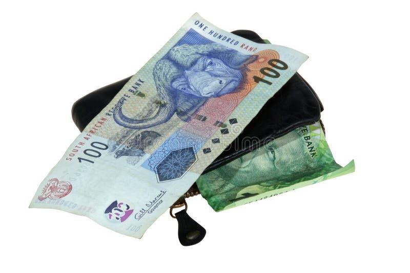 Banconote sudafricane con il portafoglio di cuoio fotografia stock