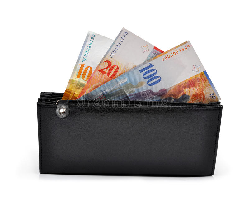 Banconote svizzere in portafoglio fotografia stock