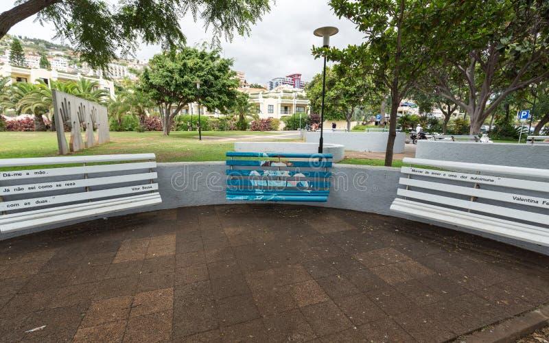 Bancos de madera artístico pintados en un parque en Funchal Madeira, Portugal imagenes de archivo