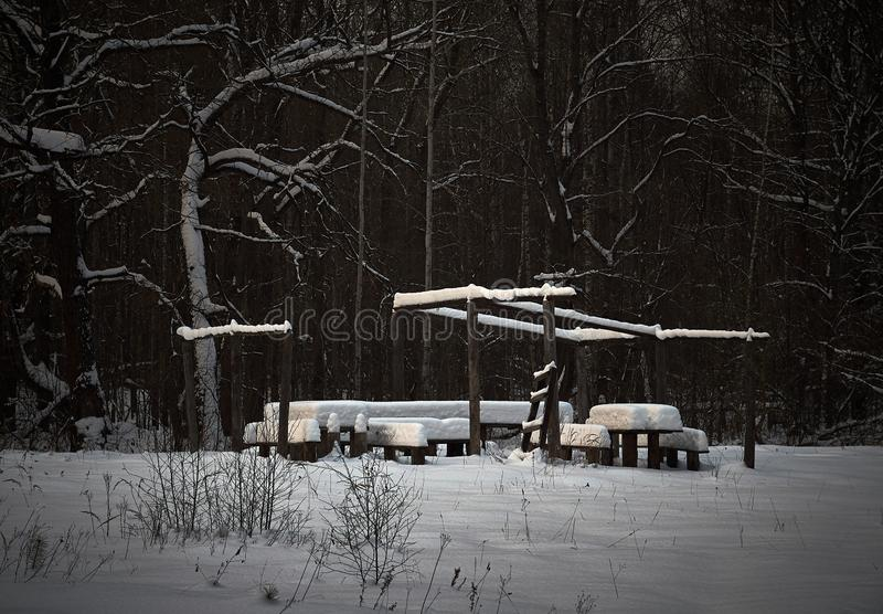 Bancos de madera y una tabla cubierta con nieve El acampar, comida campestre en el bosque Paisaje del invierno imagen de archivo libre de regalías
