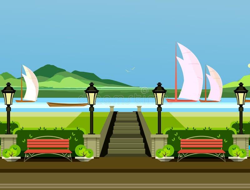Bancos de parque de la ciudad stock de ilustración