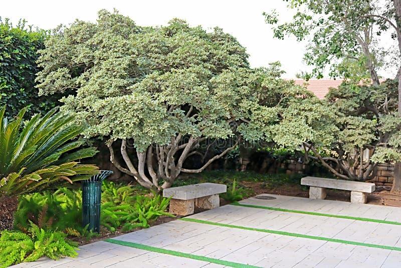 Bancos de pedra no parque Ramat Hanadiv, jardins memoráveis de Baron Edmond de Rothschild, Zichron Yaakov, Israel fotos de stock