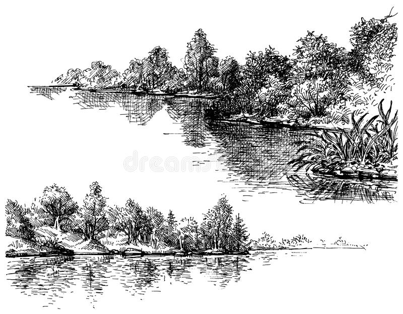 Bancos de rio ilustração stock