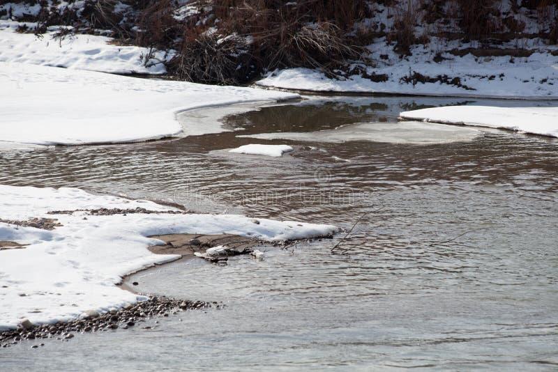 Bancos de rio de congelação imagem de stock