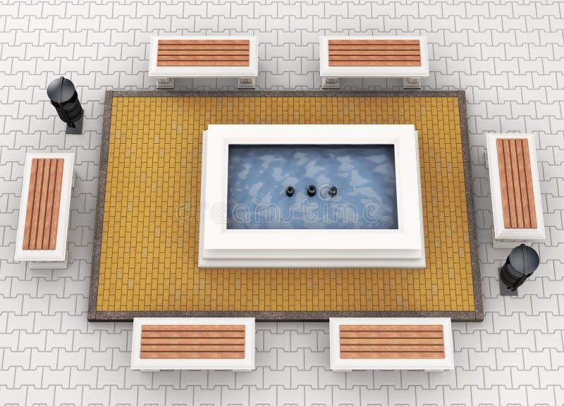 Bancos del paisaje urbano y opinión superior de la fuente representación 3d libre illustration