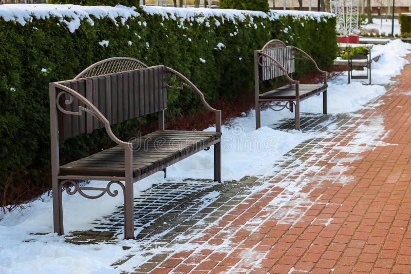 Bancos en el callejón en el parque debajo de la nieve imagenes de archivo