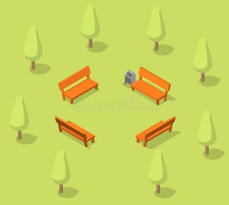 Bancos en el parque Lugar de descanso en el bosque Parkland Acción isométrica del vector stock de ilustración