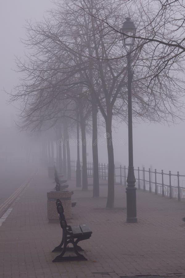 Bancos en la niebla foto de archivo libre de regalías