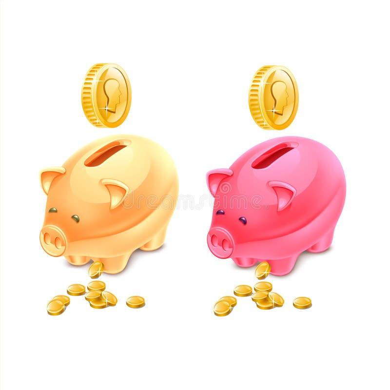 Bancos Piggy coloridos ilustração do vetor
