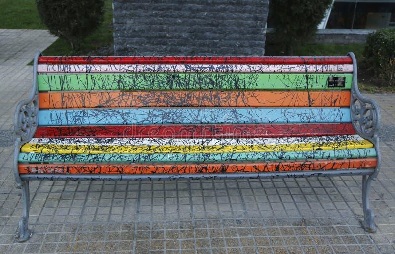 Bancos pintados de Santiago en Las Condes, Santiago de Chile fotos de archivo libres de regalías