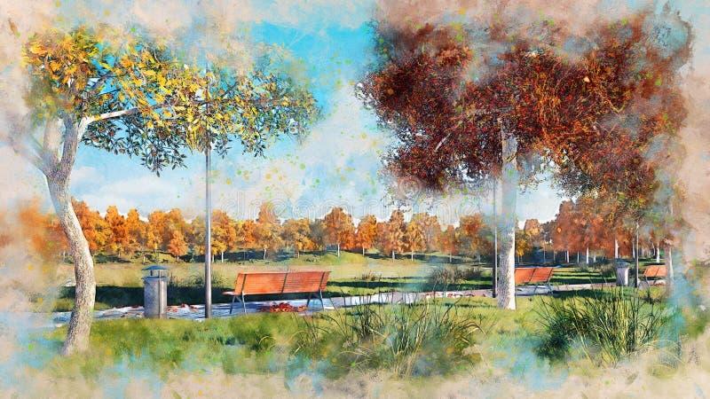 Bancos y árboles en bosquejo de la acuarela del parque del otoño stock de ilustración