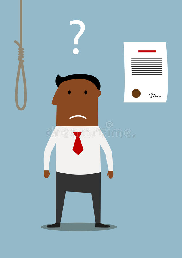 Bancrupt businessman thinking about debt noose. Depressed african american businessman choosing between debt noose and bankruptcy. Difficult choice or financial vector illustration