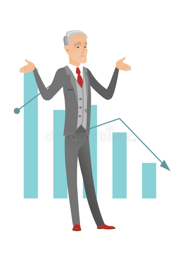 Bancrupt caucasian businessman with spread arms. Caucasian bancrupt standing on the background of decreasing chart. Senior bancrupt man with spread arms royalty free illustration