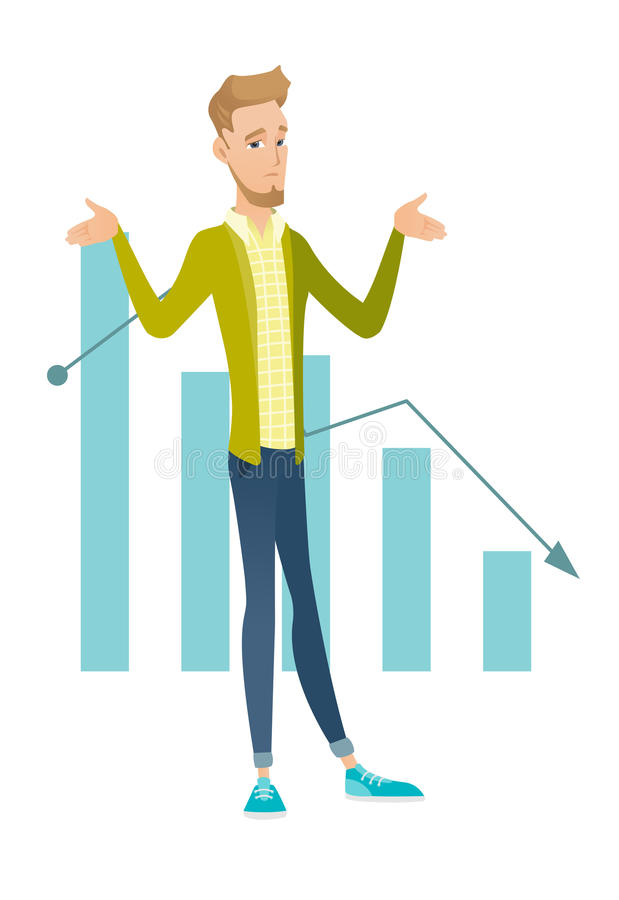 Bancrupt caucasian businessman with spread arms. Caucasian bancrupt standing on the background of decreasing chart. Young bancrupt businessman with spread arms vector illustration