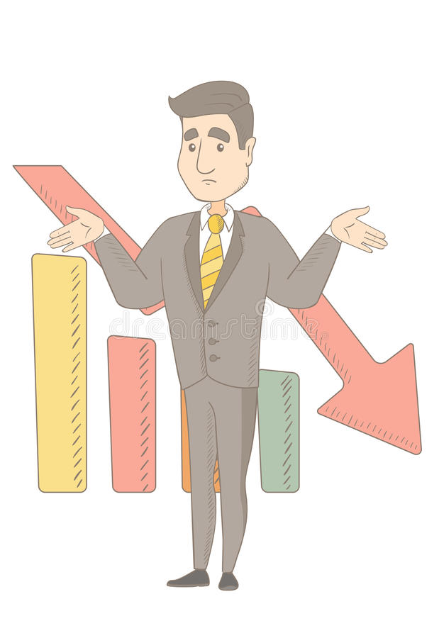 Bancrupt caucasian businessman with spread arms. Caucasian bancrupt standing on the background of decreasing chart. Young bancrupt businessman with spread arms stock illustration
