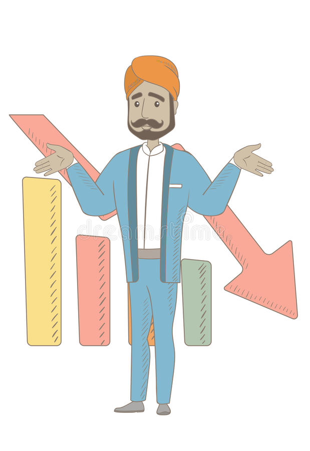 Bancrupt hinduski biznesmen z rozciągniętymi rękami ilustracja wektor