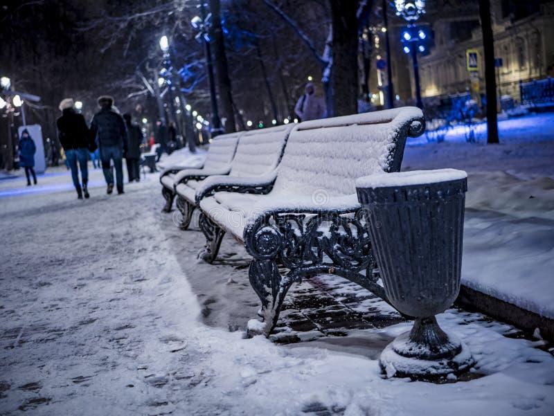 3 bancs sur le parc la nuit hiver image libre de droits